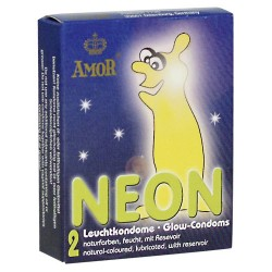 AMOR Neon Glow in the Dark Kondome - 2 Stück